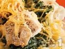 Рецепта Бяла риба със спанак, макарони и чедър